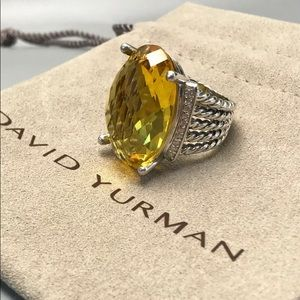 David Yurman Silver Citrine Oval Wheaton Ring